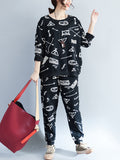 Women's 2Pcs Color Block Print Sweatshirt Loose Slim Pants Suit