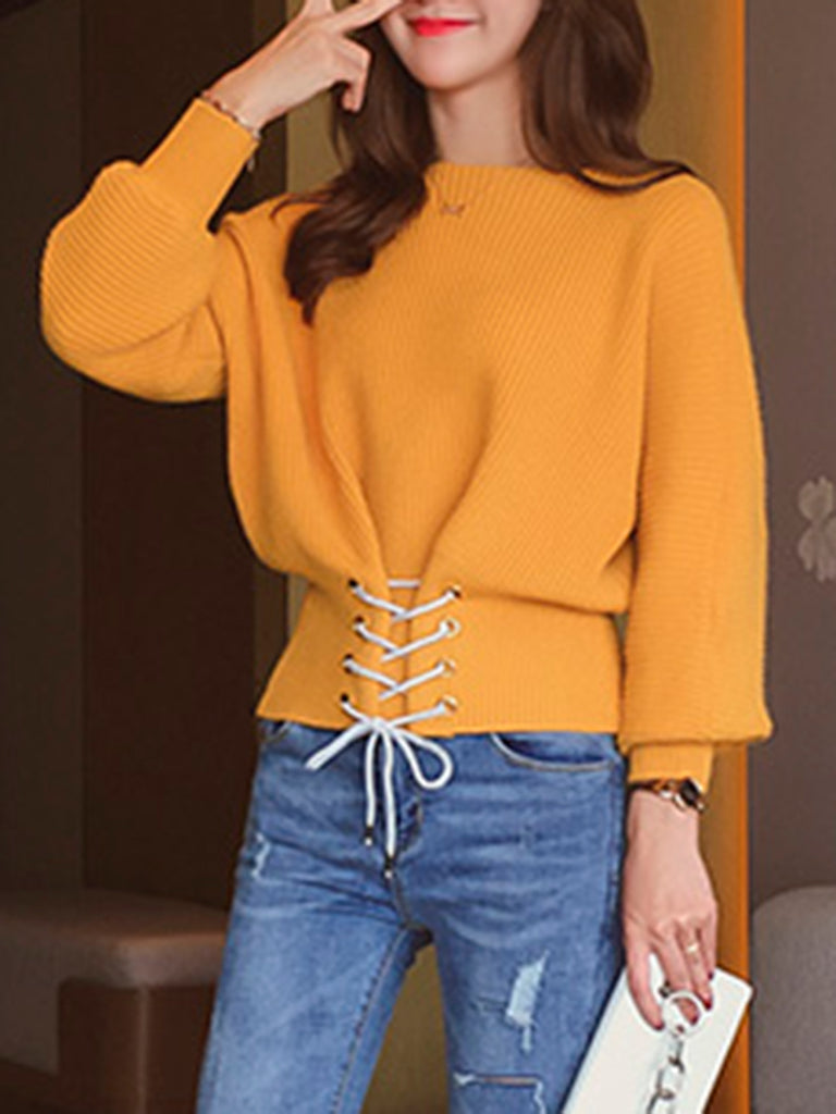 Women's Sweater Cuff Sleeve Solid Color Slim Top