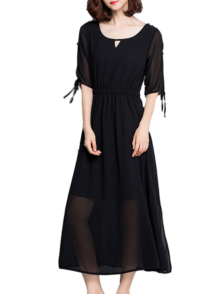 Women's Dress Elegant Solid Color Half Sleeve Chiffon Long Aline Dress