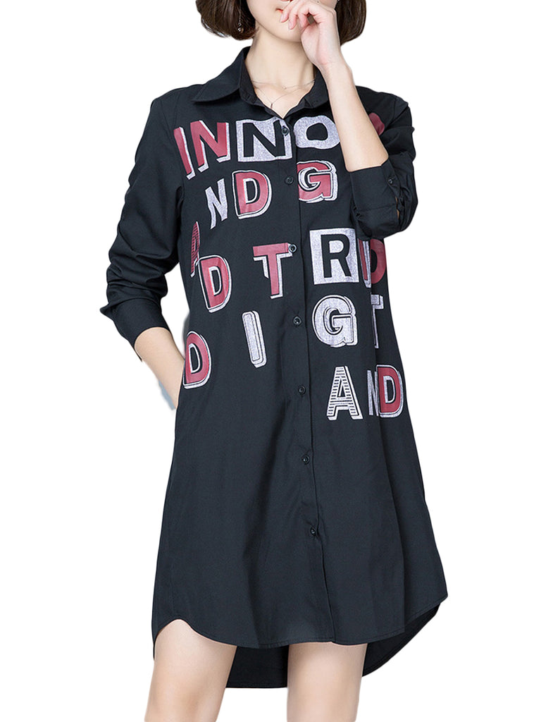 Women's Shirt Dress Letter Pattern Long Sleeve Plus Size Dress