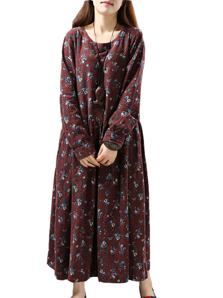 Women's Plus Size Dress Chic Elegant Floral O Neck Long Sleeve Loose Maxi Dress