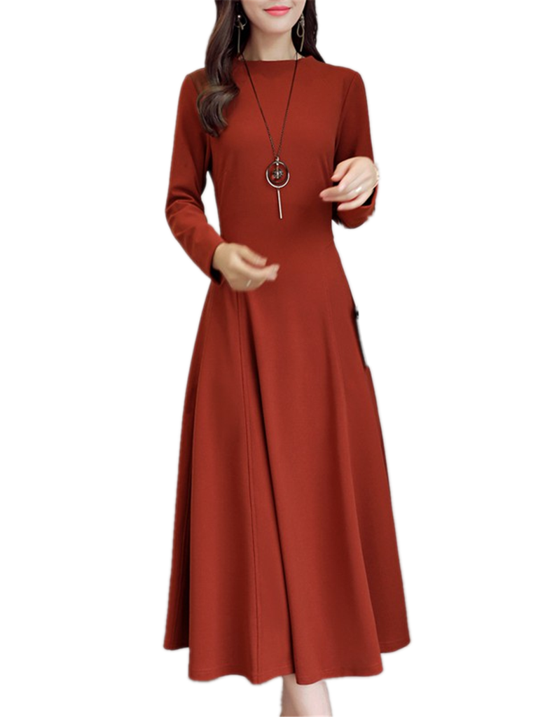 Women's Dress O Neck Long Sleeve High Waist Solid Aline Maxi Long Dress