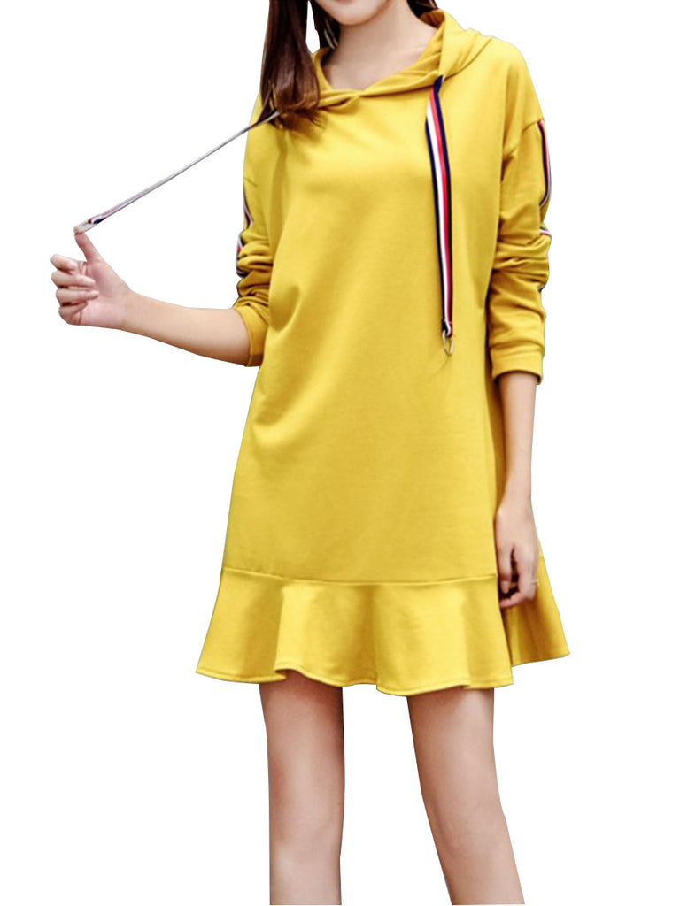 Women's Dress Plus Size Casual Hooded Solid Dress