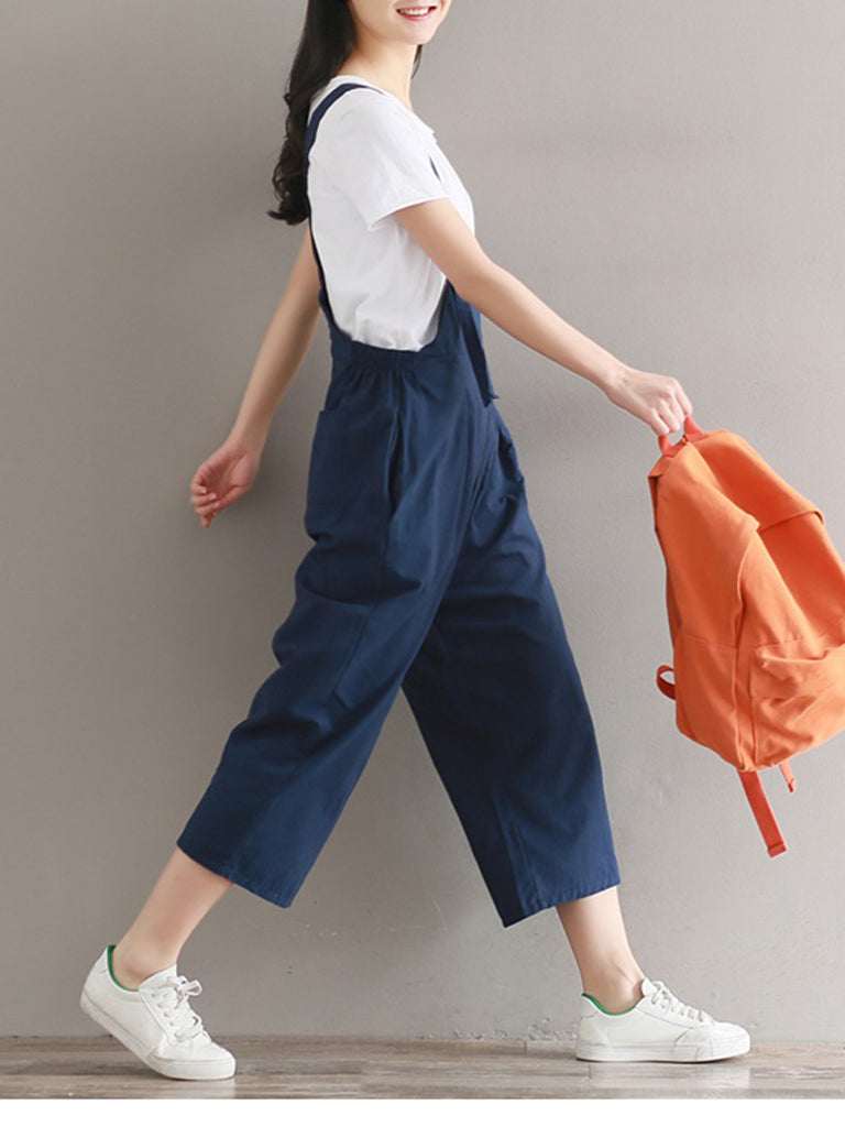 Women's Jumpsuits Solid Color Loose Cropped Jumpsuits