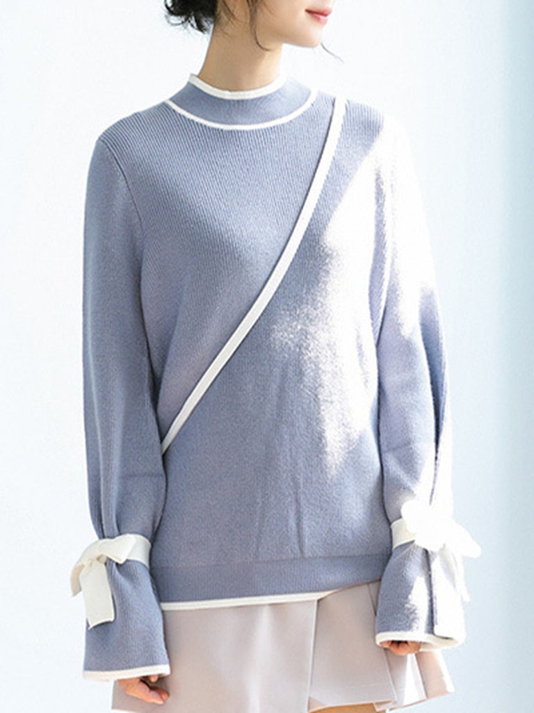 Women's Sweater Stand Collar Long Sleeve Solid Sweater