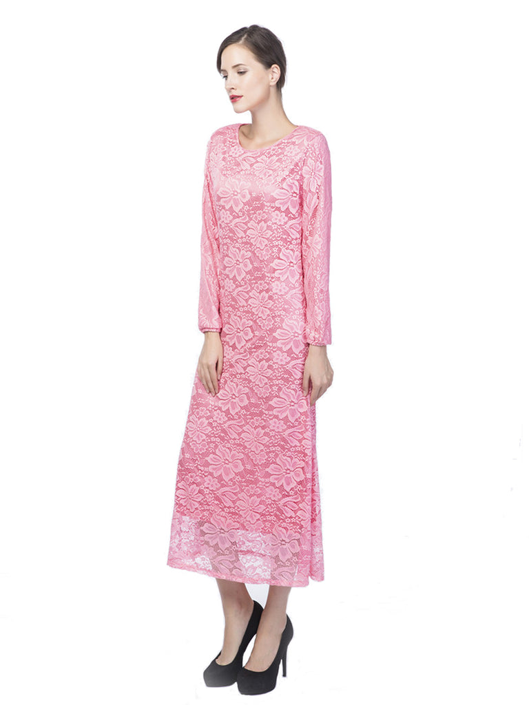 Women's Arabian Clothing Solid Color Lace Hollow Out Stylish Dress