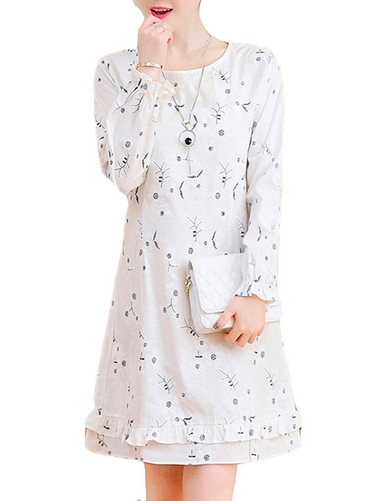 Women's Plus Size Dress Print Midi Loose Dress