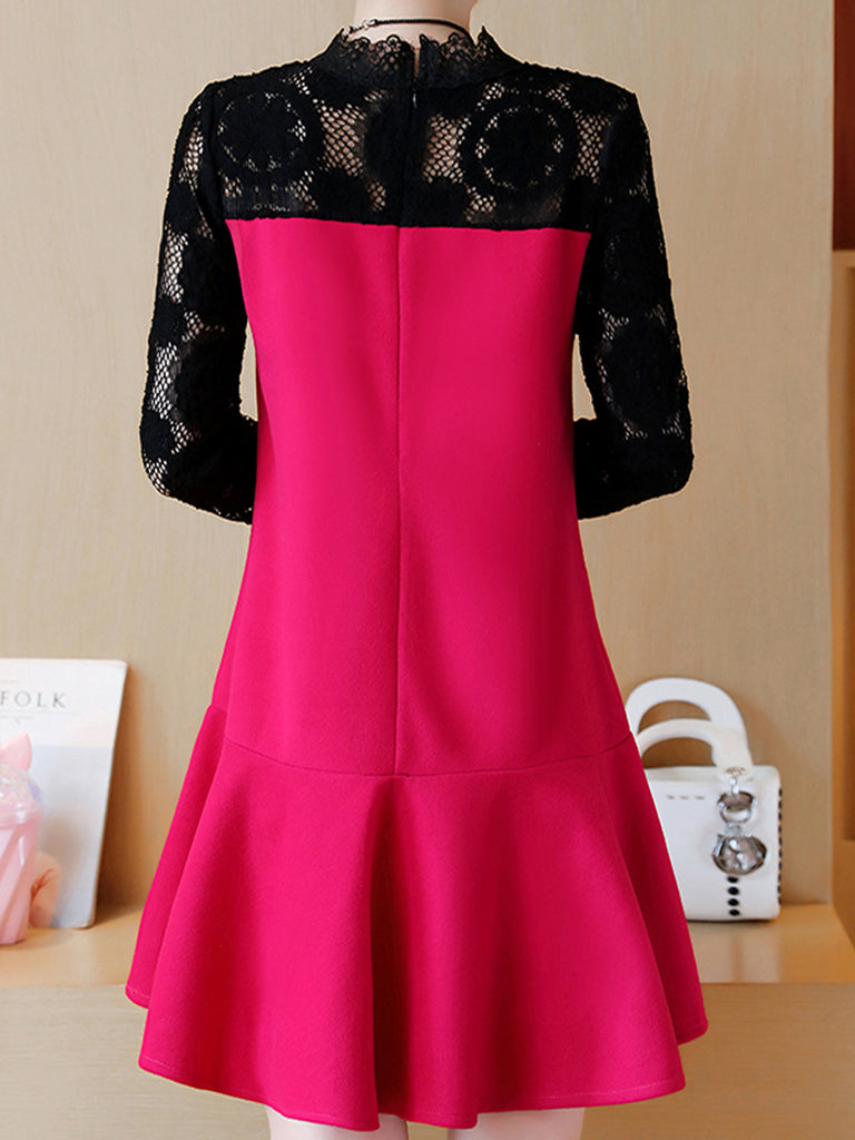 Women's Plus Size Dress Stand Collar Color Block Midi Dress