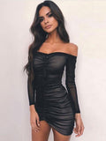 Women's Dress Slash Neck Long Sleeve Solid Color Ruching Tassel Sheath Dress