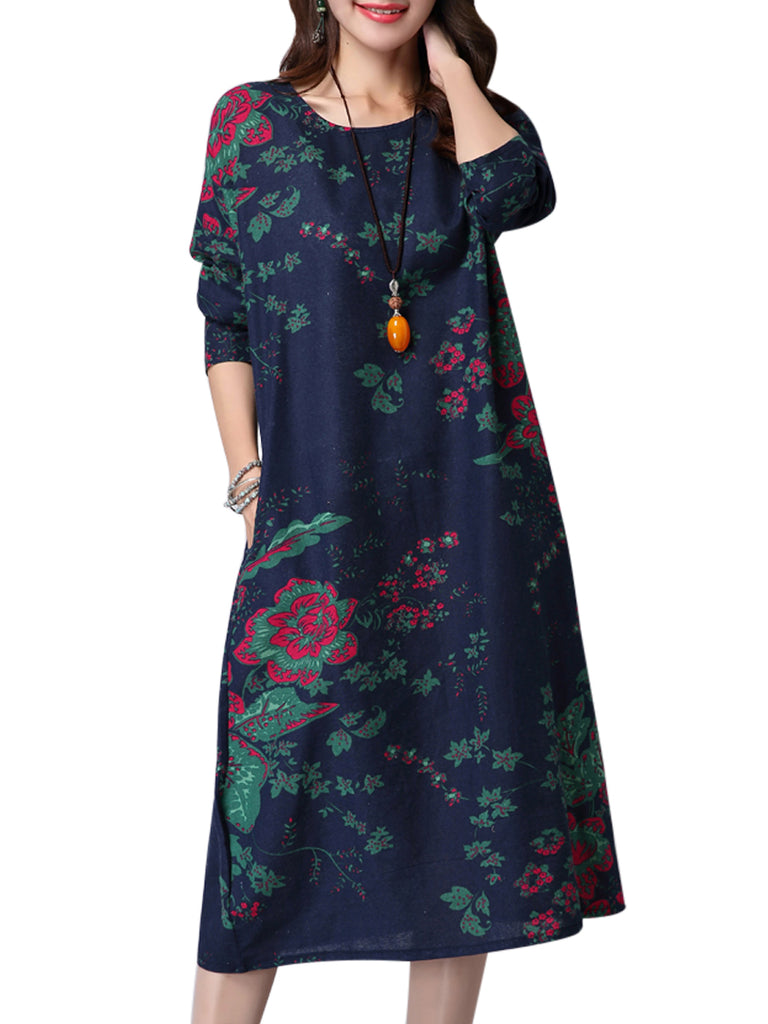 Women's Dress Retro Floral Color Block Loose Midi Dress