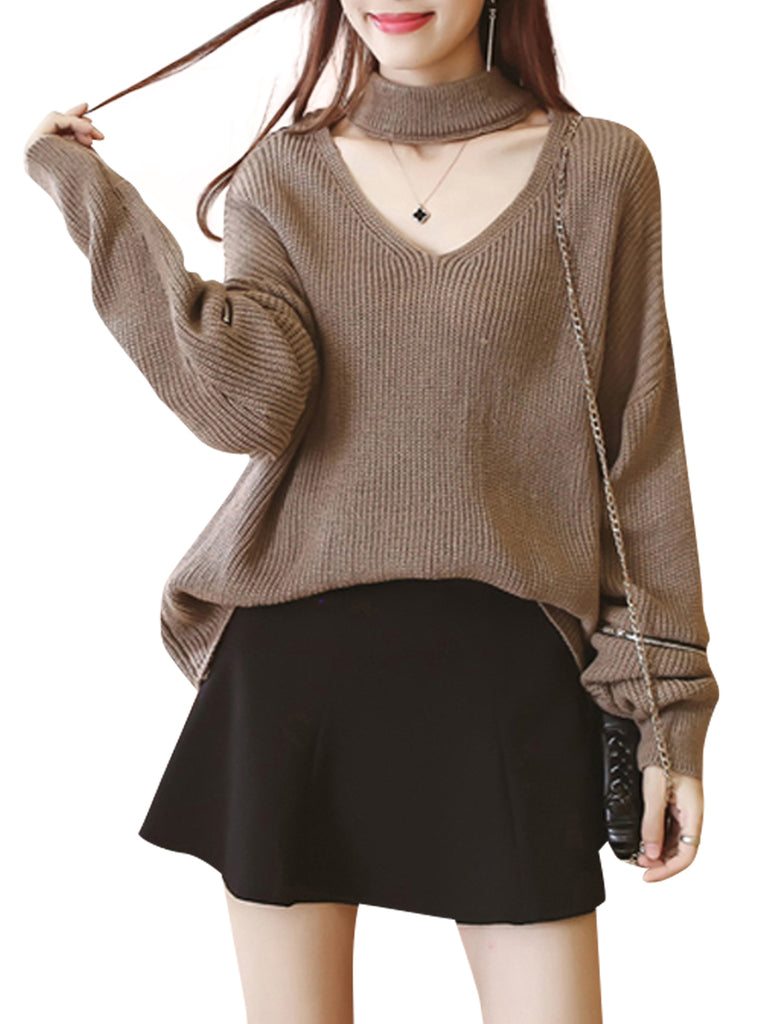 Women's Sweater Hollow Out Long Sleeve Solid Pullover