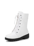 Women's Martin Boots Chic Solid Color Lacing Side Zipper Platform Thick Heel Mid-Calf Boots