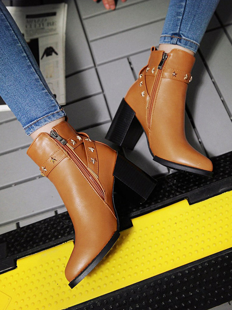 Women's Boots Solid Color Side Zipper Fashion All Match Thick Heel Pointed Toe Shoes