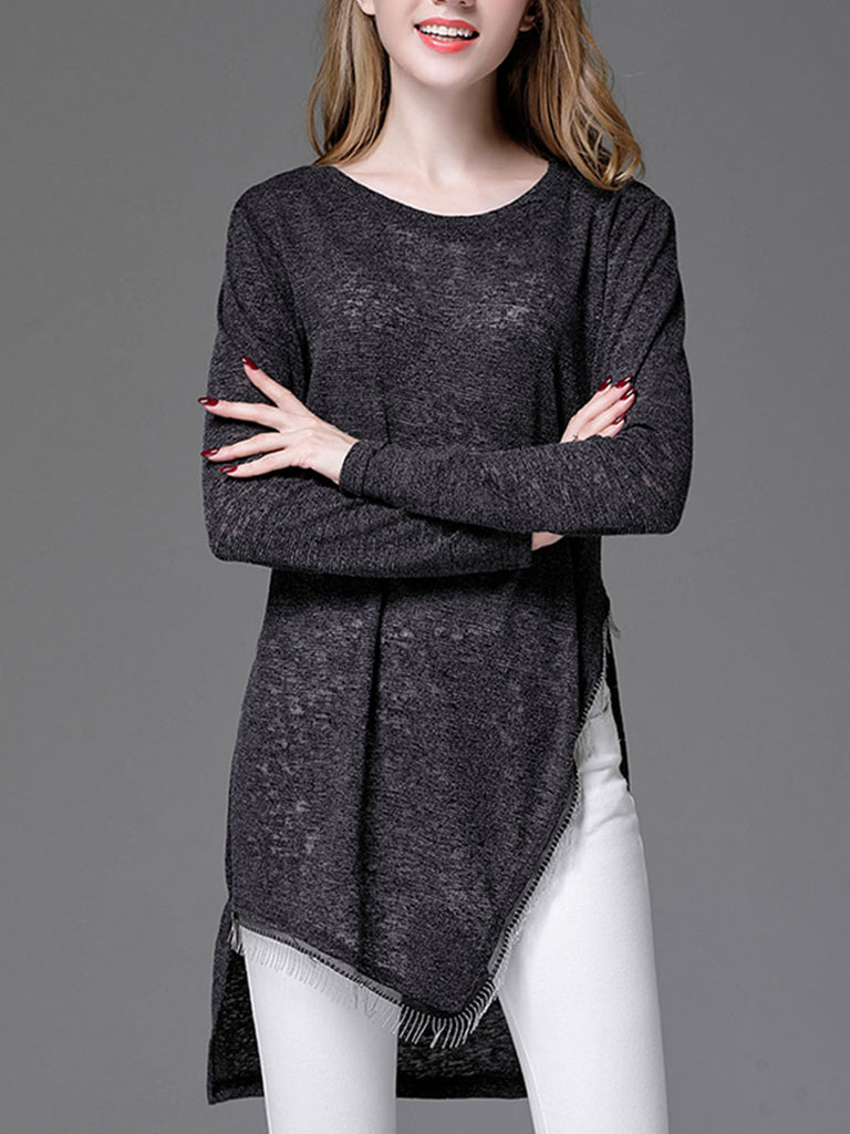 Women's Sweater Dress O Neck Long Sleeve Solid Plus Size Sweater