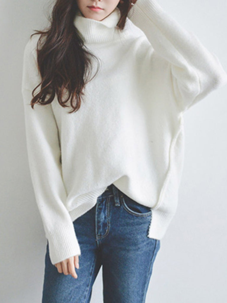Women's Pullover Solid Color Turtle Neck Long Sleeve Warm Casual Sweater