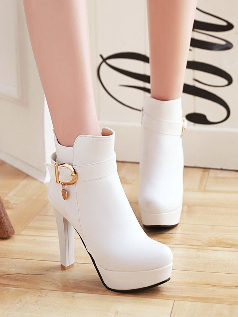Women's Martin Boots Stylish Solid Color Hasp Design Chic High Heeled Chic Shoes
