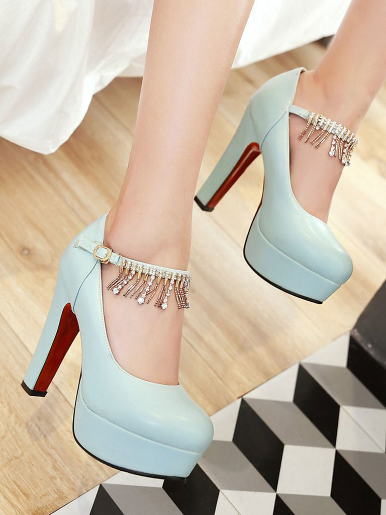 Women's Thick Heel Pumps Round Toe Platform Solid Color Tassels Ornament Pumps