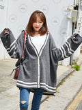 HSTYLE Women's Cardigan Patchwork V Neck Loose Stylish Knitwear