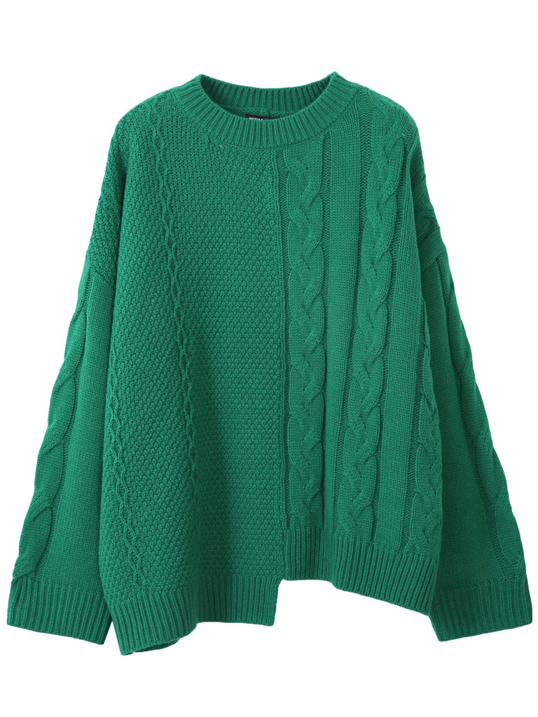 HSTYLE Women's Sweater Solid Color Round Neck Retro Style Asymmetric Fashion Pullover