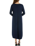 Women's Shift Dress Solid Color Split Long Sleeve O Neck Maxi Long Dress