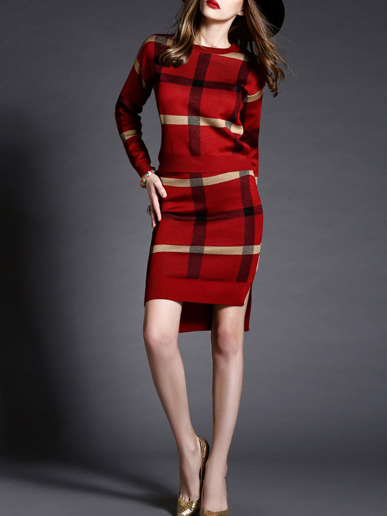Women's 2Pcs Plaid Pattern Sweater High Low Slim Skirt Suit
