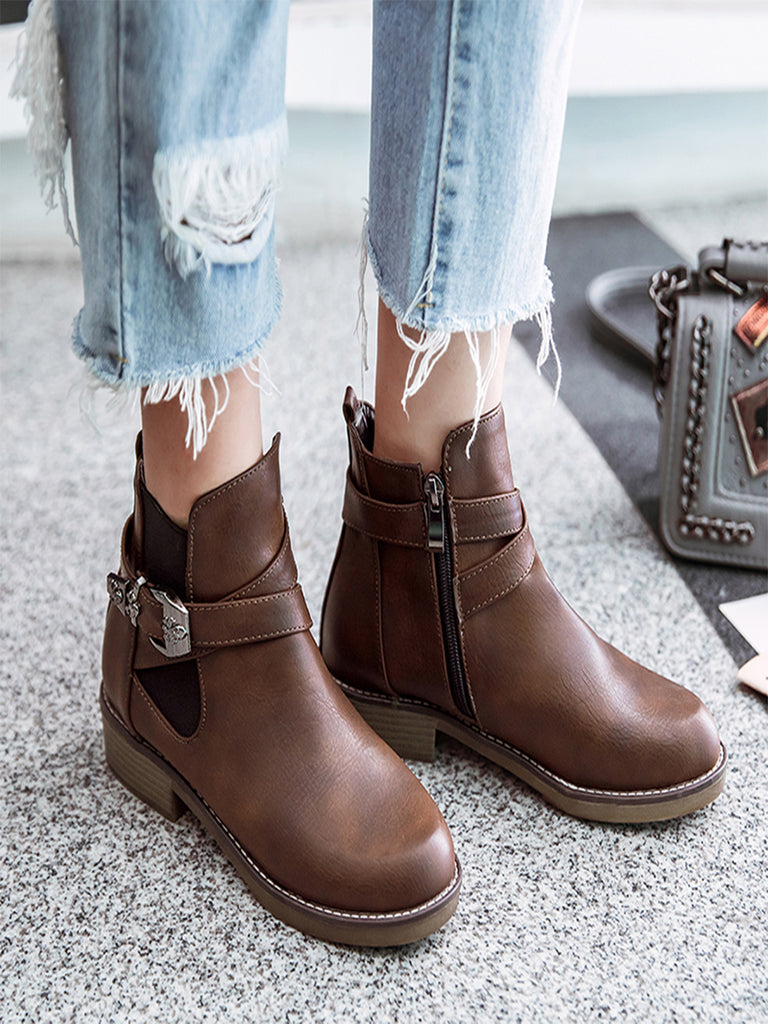 Women's Boots Solid Color Belt Decorate Casual Fashion All Match Ankle Thick Heel Shoes