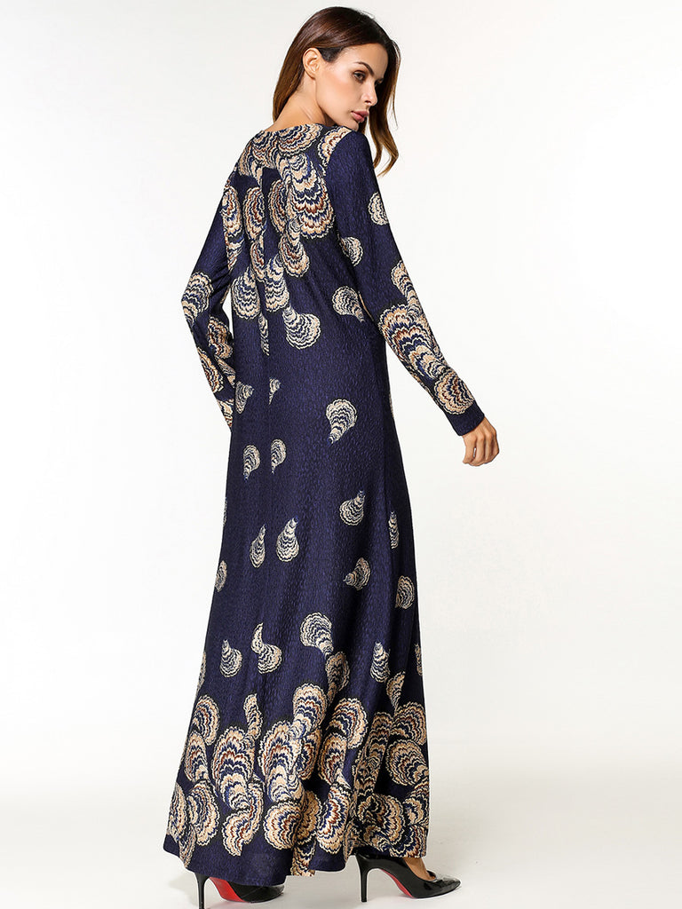Women's Maxi Long Dress Color Block Print Slim Dress