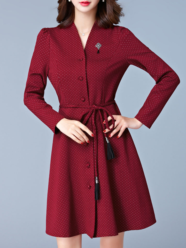 Women's Dress Polka Dot V Neck Long Sleeve Dress