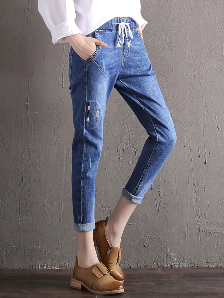 Women's Jeans Solid Color Cropped Harem Elastic Loose Plus Size Denim Pants