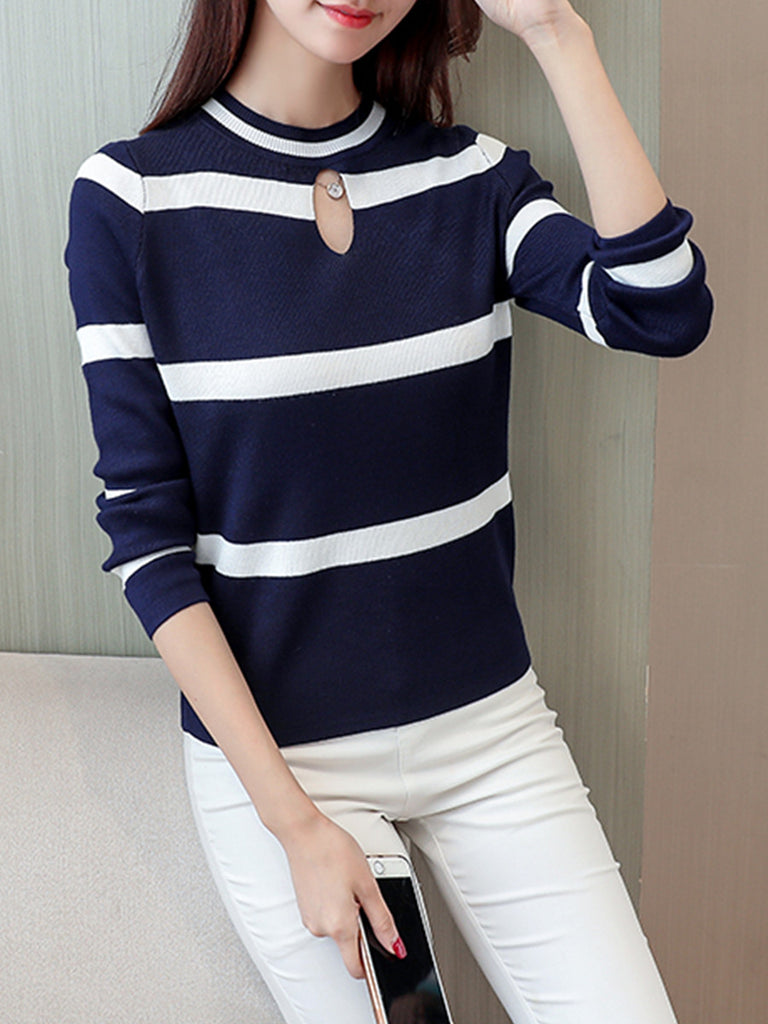 Women's Sweater Color Block Stripe Pattern Plus Size Pullover
