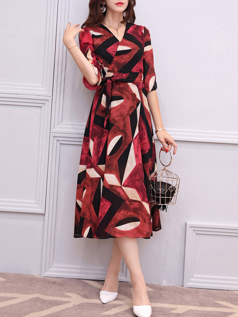 Women's Maxi Long Dress V Neck Half Sleeve Color Block Aline Dress