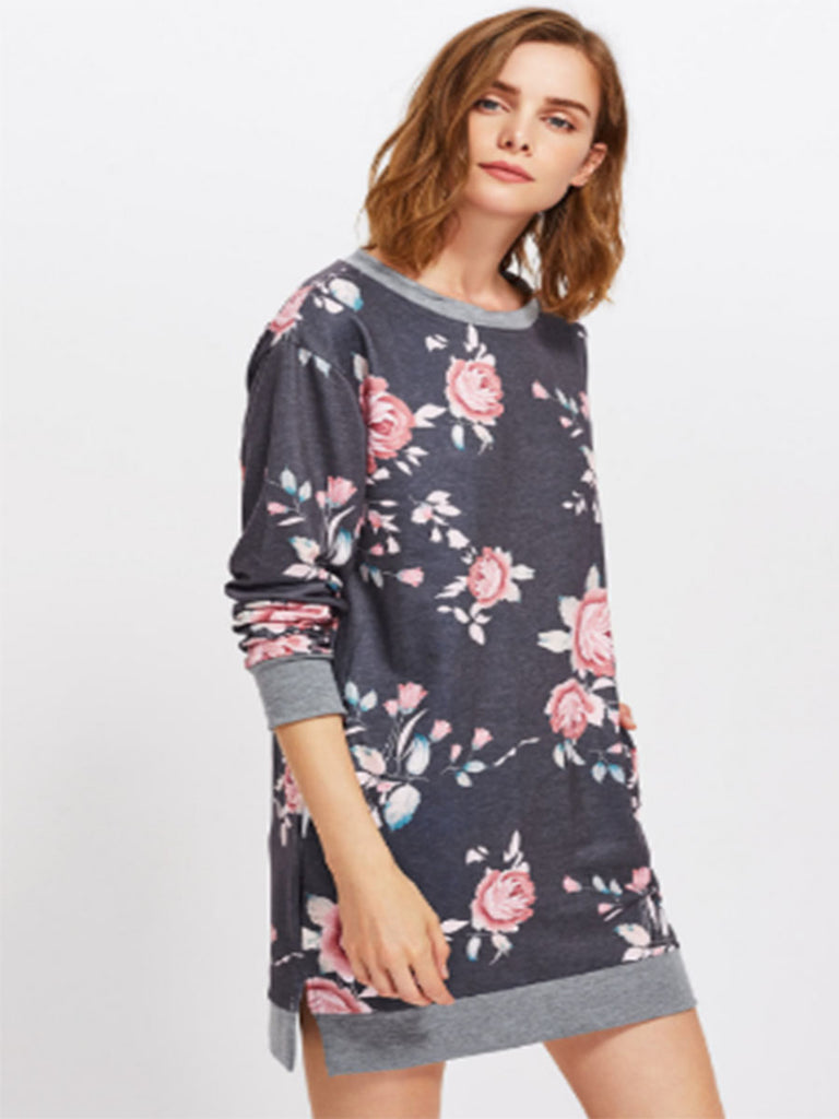 Women's Sweatshirt O Neck Floral Long Sweatshirt
