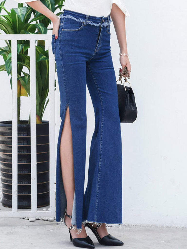 Women's Jeans High Waisted Flared Hem Side Split Frayed Slim Fit Denim Pants