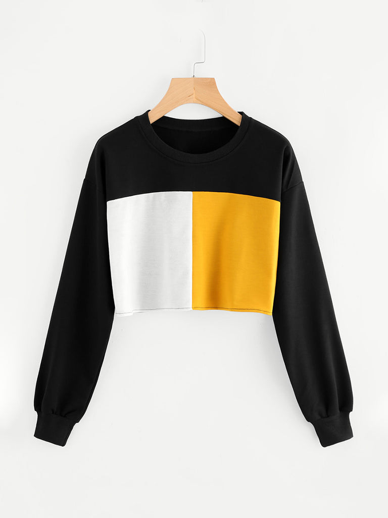 Women's Sweatshirt Long Sleeve Colorblock O Neck Cropped Sweatshirt