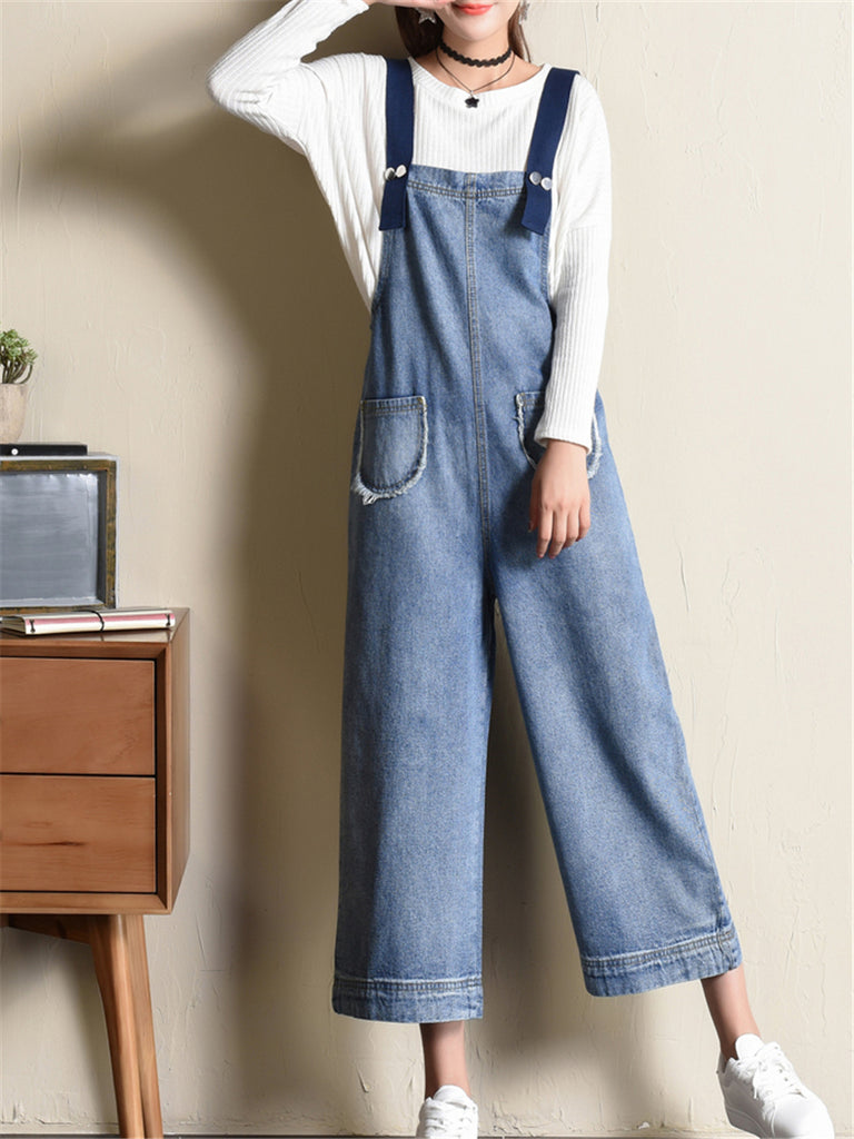Women's Denim Overalls Wide Leg Suspender Denim Pants