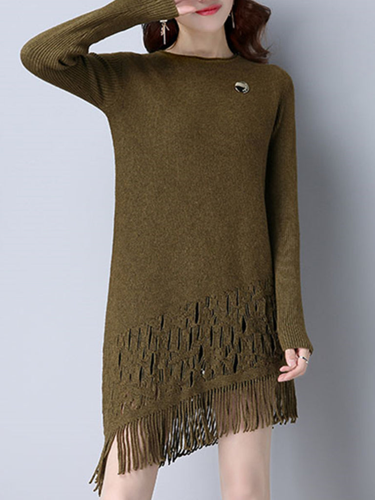 Women's Sweater Dress Solid Round Neck Long Sleeve Fringed Asymmetric Dress