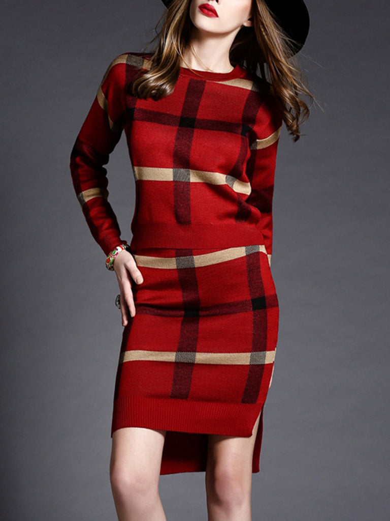 Women's 2Pcs Skirt Suits Plaid Long Sleeve Sweater Midi Skirt Suits