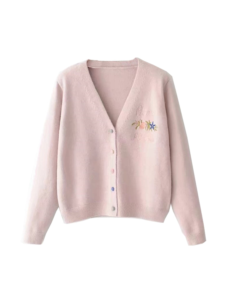 Women's Cardigan Embroidery Long Sleeve Cozy Cardigan