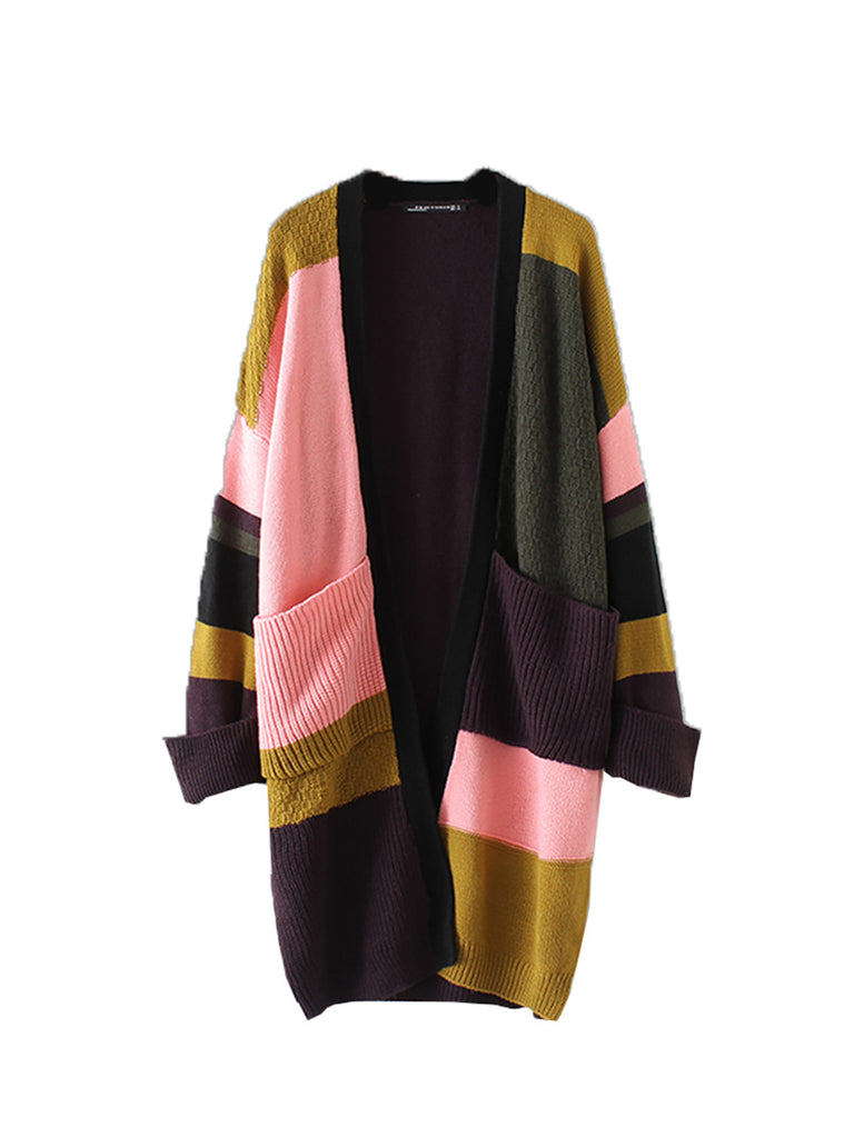 Women's Cardigan Long Sleeve Colorblock All Match Breathable Comfy Outerwear