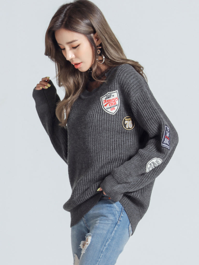 HSTYLE Women's Sweater Round Neck Applique All Match Fashion Pullover