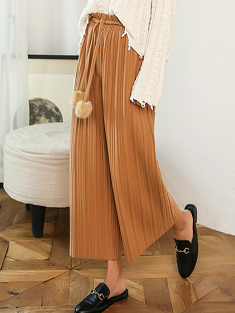 HSTYLE Women's Casual Pants Solid Color Furry Ball Decor Comfy Wide Leg Pants