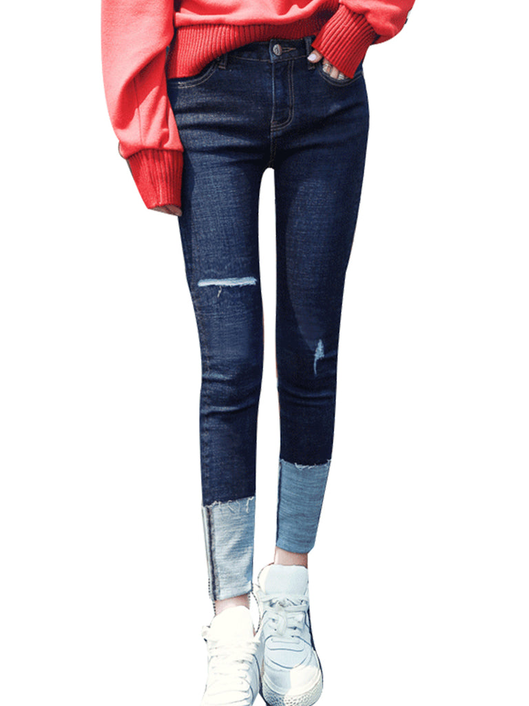 HSTYLE Women's Jeans Frayed Solid Color All Match Pencil Pants