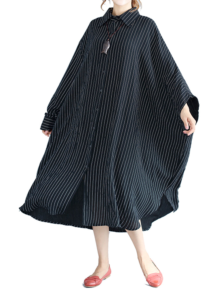 Women's Plus Size Shirt Dress Stripe Pattern Loose Dress