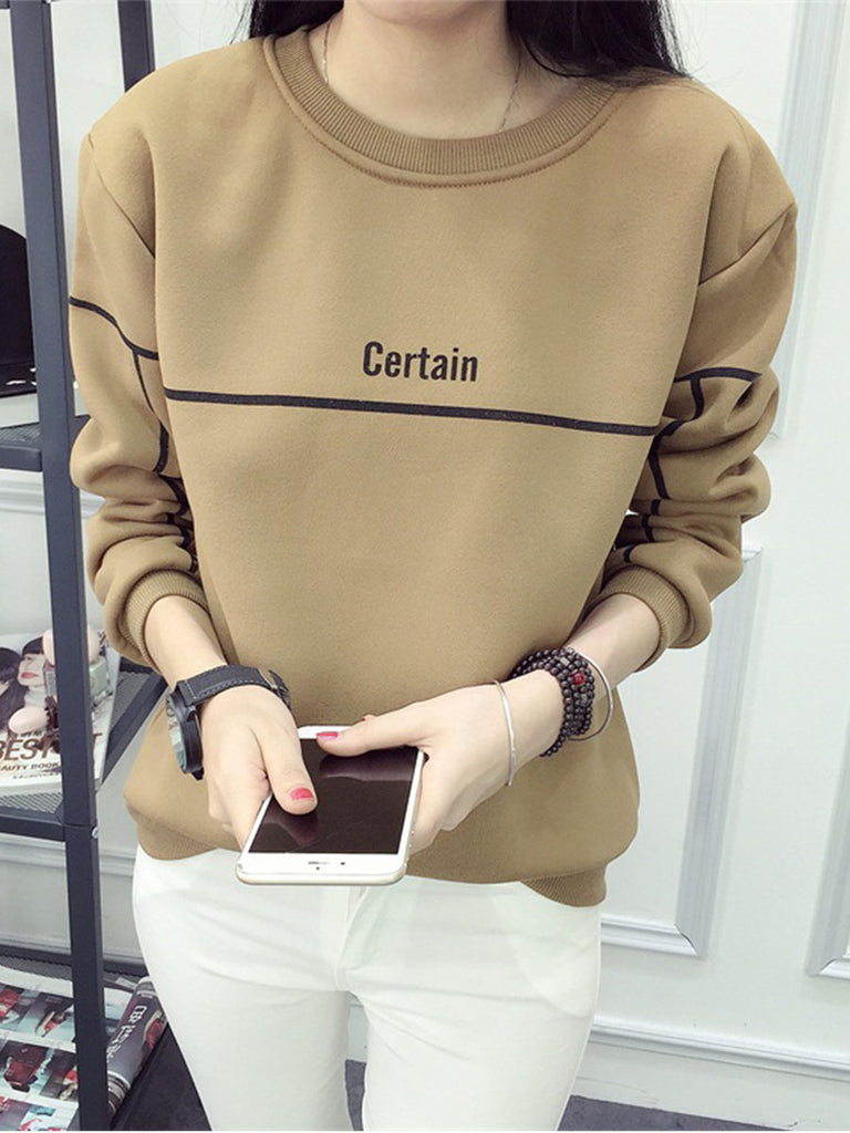 Women's Sweatshirt Letter Pattern Slim Cozy Top