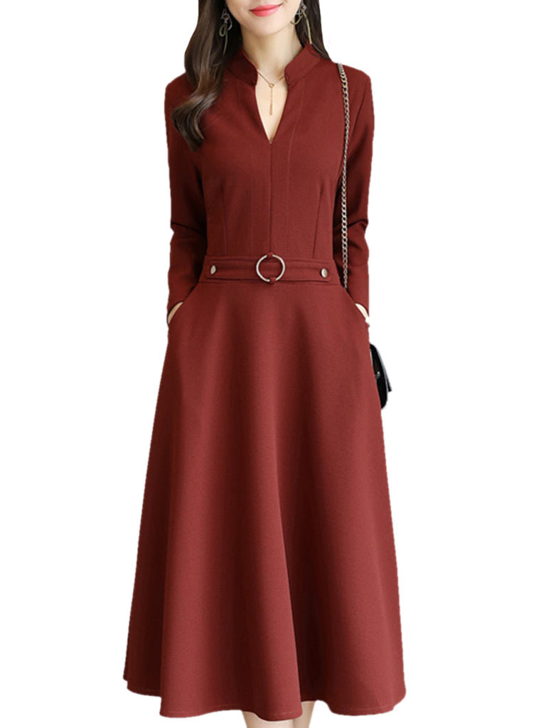 Women's Dress V Neck Long Sleeve Solid Aline Dress