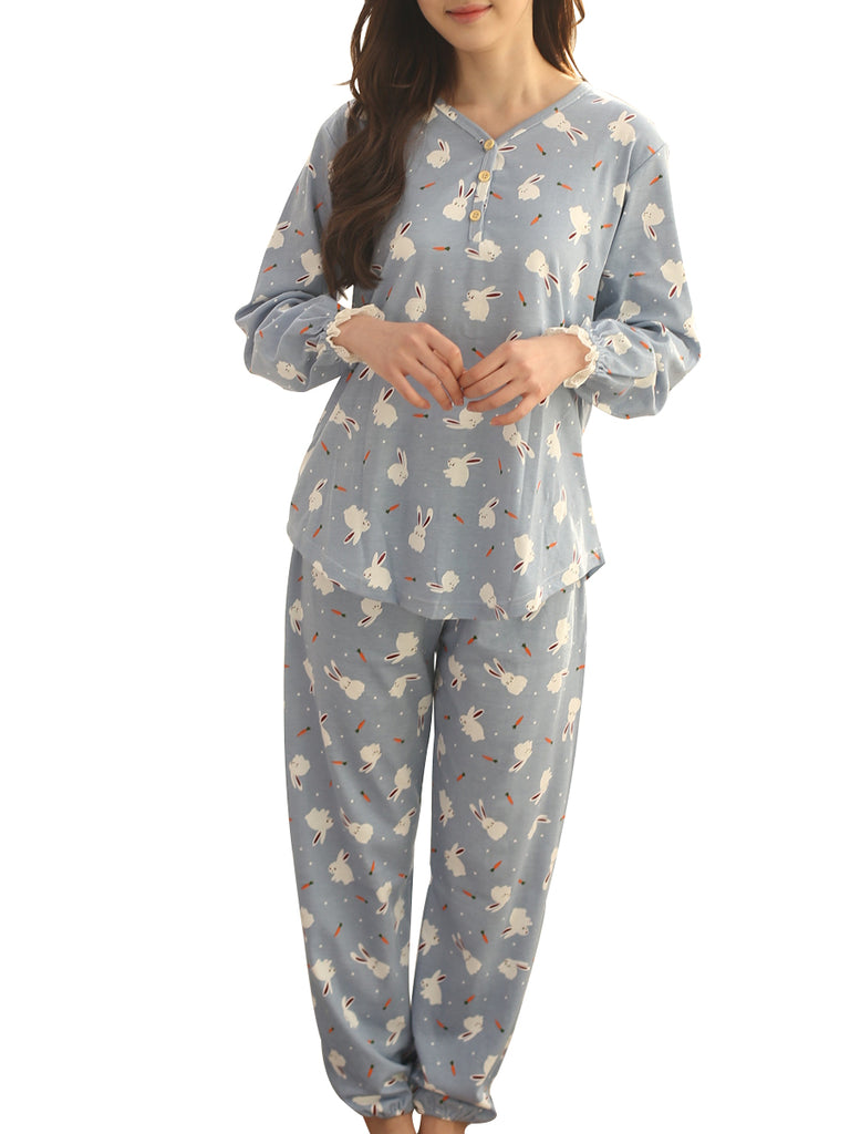 Women's Pajama Set Button V Neck Long Sleeve Cute Rabbit Pattern Sweet Home Suit