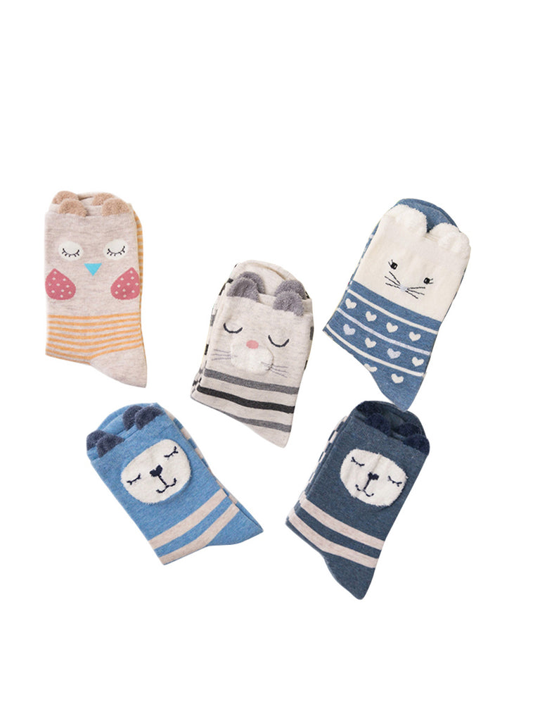 Women's 5 Pairs Crew Socks Cute Cartoon Pattern Striped Breathable Sweet Socks