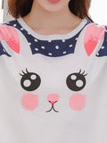 Women's Sleepwear Set Polka Dots Cute Cartoon Pattern Sweet O Neck Long Sleeve Home Suit