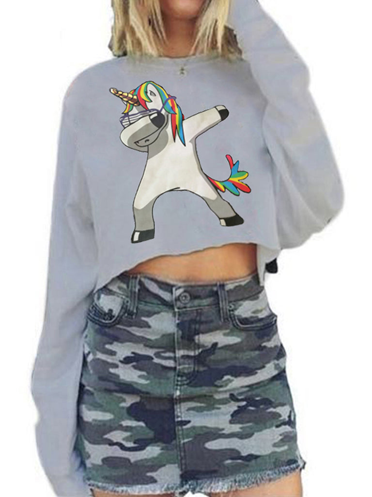 Women's Sweater Shirt Round Neck Cartoon Unicorn Pattern Stylish Top