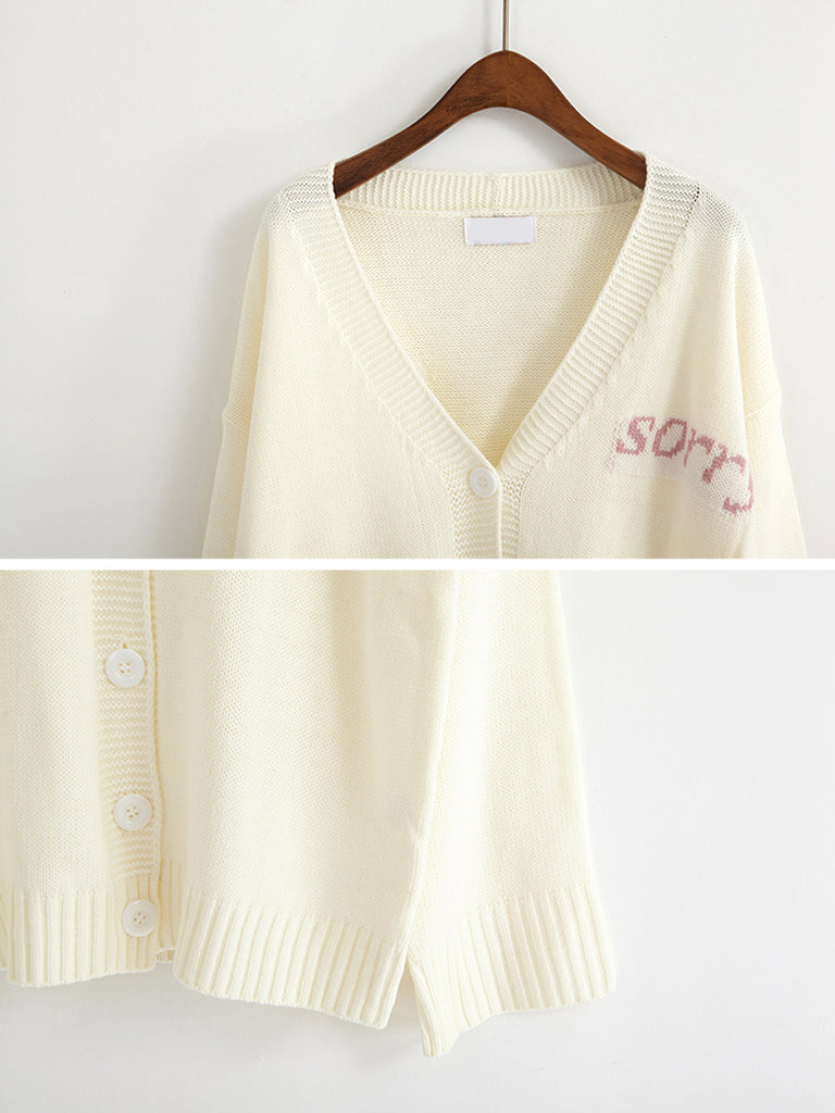 Women's Cardigan Letter Pattern Single Breasted Casual Cardigan